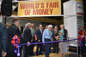 Long-time RCNA member and supporter Bill Cross was one of several Canadians who participated in the ribbon cutting ceremony to mark the opening of this year's ANA's World's Fair of Money.