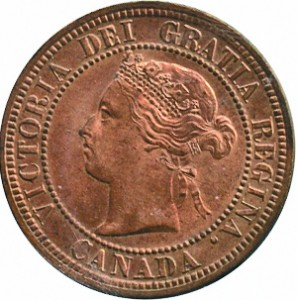 Canada 1882 1 Cent – Victoria Coin  (Large) Obverse