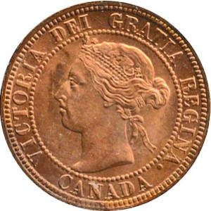 Canada 1892 1 Cent – Victoria Coin  (Large) Obverse