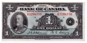 Canada 1935 1 Dollar –  Note Obverse