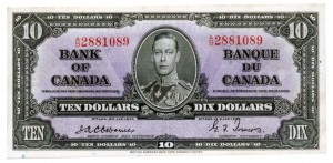 Canada 1937 10 Dollars –  Note Obverse