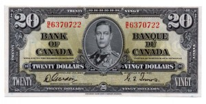 Canada 1937 20 Dollars –  Note Obverse