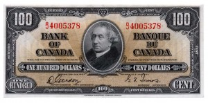 Canada 1937 100 Dollars –  Note Obverse