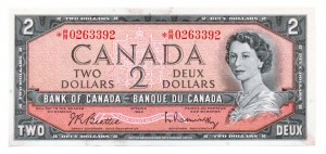 Canada 1954 2 Dollars –  Note  (Modified) Obverse