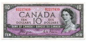 Canada 1954 10 Dollars –  Note  (Devil's Face) Obverse