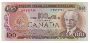 Canada 1975 100 Dollars –  Note  (Multicolour) Obverse