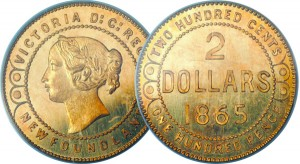 The scarce pattern made prior to the production of Newfoundland $2 gold coins differs from the final coin in small details, such as the dots and lines on either side of the obverse effigy.
