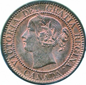 Canada 1859 1 Cent – Victoria Coin  (Large) Obverse