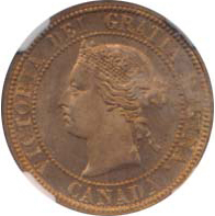 Canada 1881 1 Cent – Victoria Coin  (Large) Obverse