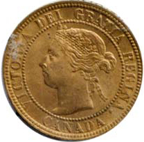 Canada 1896 1 Cent – Victoria Coin  (Large) Obverse