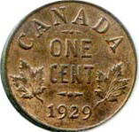 Canada 1929 1 Cent – George V  Coin  (Small) Reverse