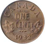 Canada 1932 1 Cent – George V  Coin  (Small) Reverse
