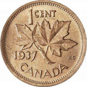 Canada 1937 1 Cent – George VI Coin  (Small) Reverse