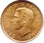 Canada 1940 1 Cent – George VI Coin  (Small) Obverse