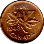 Canada 1943 1 Cent – George VI Coin  (Small) Reverse