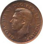 Canada 1944 1 Cent – George VI Coin  (Small) Obverse