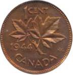 Canada 1944 1 Cent – George VI Coin  (Small) Reverse