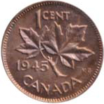 Canada 1945 1 Cent – George VI Coin  (Small) Reverse