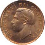 Canada 1949 1 Cent – George VI Coin  (Small) Obverse