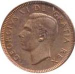Canada 1951 1 Cent – George VI Coin  (Small) Obverse