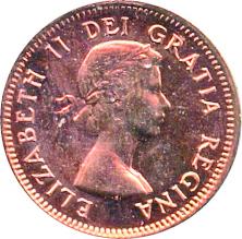 Canada 1954 1 Cent – Elizabeth II Coin  (Small) Obverse