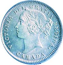 Canada 1872 10 Cents – Victoria Coin Obverse