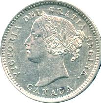 Canada 1892 10 Cents – Victoria Coin Obverse