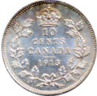 Canada 1913 10 Cents – George V Coin Reverse