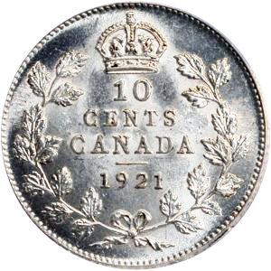 Canada 1921 10 Cents – George V Coin Reverse