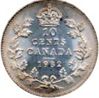 Canada 1932 10 Cents – George V Coin Reverse