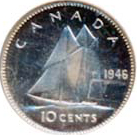 Canada 1946 10 Cents – George VI Coin Reverse