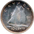 Canada 1947 10 Cents – George VI Coin Reverse