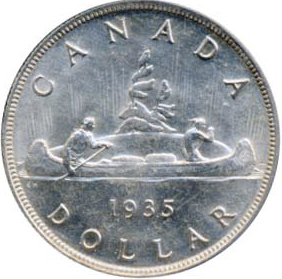 Canada 1935 1 Dollar – George V Coin Reverse