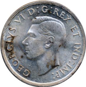 Canada 1937 1 Dollar – George VI Coin Obverse
