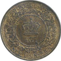 New Brunswick 1864 1 Cent – Victoria Coin Reverse