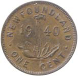 Newfoundland 1940 1 Cent – George VI Coin  (Small) Reverse