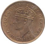 Newfoundland 1942 1 Cent – George VI Coin  (Small) Obverse