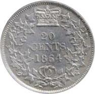 New Brunswick 1864 20 Cents – Victoria Coin Reverse