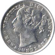 Newfoundland 1881 20 Cents – Victoria Coin Obverse