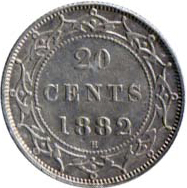 Newfoundland 1882 20 Cents – Victoria Coin Reverse