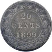 Newfoundland 1899 20 Cents – Victoria Coin Reverse
