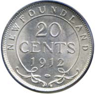 Newfoundland 1912 20 Cents – George V Coin Reverse