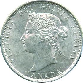 Canada 1871 25 Cents – Victoria Coin Obverse