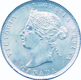 Canada 1872 25 Cents – Victoria Coin Obverse