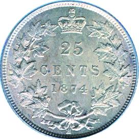 Canada 1874 25 Cents – Victoria Coin Reverse