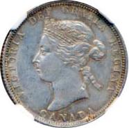 Canada 1882 25 Cents – Victoria Coin Obverse