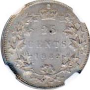 Canada 1882 25 Cents – Victoria Coin Reverse