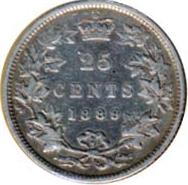 Canada 1889 25 Cents – Victoria Coin Reverse
