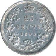 Canada 1899 25 Cents – Victoria Coin Reverse