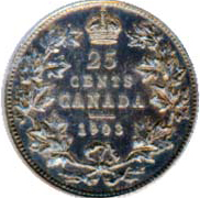 Canada 1903 25 Cents – Edward VII Coin Reverse